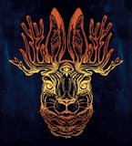 Jacalope three eyed magical creature portrait. Royalty Free Stock Photography