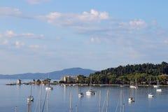 Jachtów i łodzi Corfu wyspa Fotografia Royalty Free