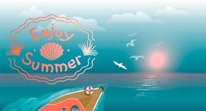 Jacht żegluje na falach przy zmierzchem Lato krajobraz z inskrypcją Żywy koral ilustracji
