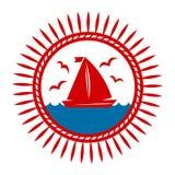 Jacht łódź na fala i seagulls wektoru ikonie ilustracji