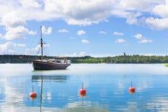 Jacht łódź na jeziorze Obraz Stock