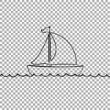 Jacht łódkowata ikona odizolowywająca na przejrzystym tle royalty ilustracja