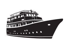 Jacht łodzi ikona Konturowy wektorowy statek royalty ilustracja