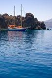 Jacht in Egeïsche overzees. Stock Fotografie