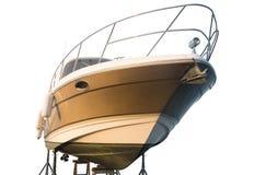 Jacht in het dok voor reparaties stock foto