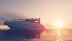 Jacht i zmierzch Zdjęcia Stock