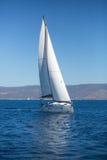 Jacht met witte zeilen in het overzees royalty-vrije stock foto