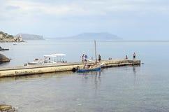 Jacht na cumowaniu w Crimea Obraz Royalty Free