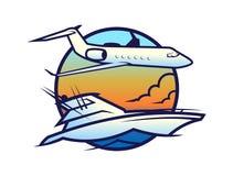 Jacht op golven en vliegtuig in hemelpictogram royalty-vrije illustratie