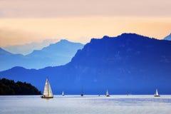 Jacht op Meer Luzerne Stock Foto