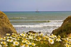 Jacht op zee Stock Foto's