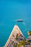 Jacht Pier Marina in Adriatische overzees in de oude stad van Kotor montenegro stock fotografie