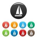 Jacht podróży ikona ustawiający kolor royalty ilustracja