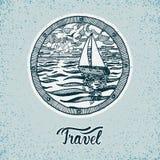 Jacht podróży znak ilustracja wektor