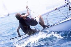 Jacht rasa w morzu śródziemnomorskim Obraz Royalty Free