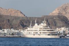 Jacht sułtan Qaboos w Muttrah, Oman Zdjęcie Stock