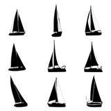 Jacht sylwetek ikony set ilustracja wektor