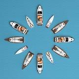 Jacht układający w okręgu Obraz Royalty Free