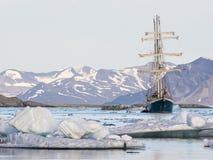 Jacht w Arktycznym fjord - krajobraz Zdjęcie Royalty Free