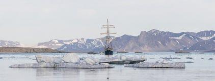 Jacht w Arktycznym fjord - panorama Obraz Stock