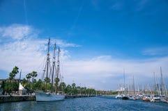 Jacht w porcie, Barcelona Zdjęcie Stock