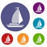 Jacht z żagiel ikonami ustawiać ilustracja wektor