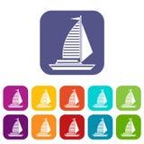 Jacht z żagiel ikonami ustawiać ilustracji