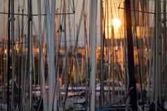 Jachten in de haven van Barcelona, Spanje Royalty-vrije Stock Afbeeldingen