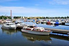 Jachten en boten van Kotka, Finland stock foto's