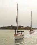 Jachten op Mar Menor Stock Foto's