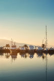 Jachten op zonsondergang in Porto Montenegro Royalty-vrije Stock Afbeelding