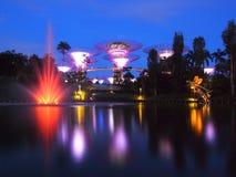 JACHTHAFEN-BUCHT, SINGAPUR, am 30. Mai 2015: Große Baumlicht-Shownachtzeit mit dem Brunnen im Garten durch die Bucht, Singapur Stockbild