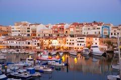 Jachthafen Ciutadella Menorca Hafensonnenuntergang mit Booten Lizenzfreie Stockfotos