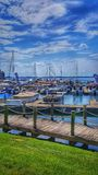 Jachthafen in Davidson, NC am See-Normannen stockfotografie