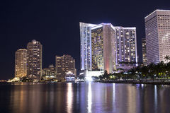 Jachthafen Miami-Bayside nachts lizenzfreies stockfoto