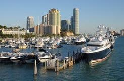 Jachthafen in Miami Beach, Florida stockbilder