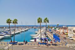 Jachthafen mit Yachten auf Costa Adeje auf Teneriffa Kanarische Insel Lizenzfreies Stockfoto