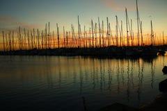 Jachthafen morgens Stockbild