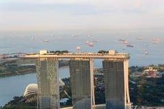 Jachthafen-Schacht versandet Hotel in Singapur Stockbild