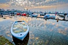 Jachthafen-Sonnenaufgang Stockfotografie