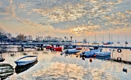 Jachthafen-Sonnenaufgang HDR Stockbilder