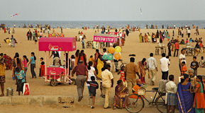 Jachthafen-Strand, Chennai, Indien Stockfotos