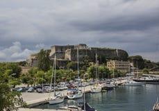 Jachthafen und Festung von Kerkyra Stockfoto