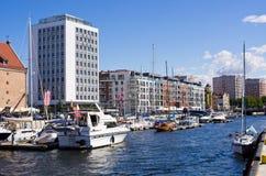 Jachthafen von Gdansk voll von Yachten, Polen Lizenzfreie Stockbilder