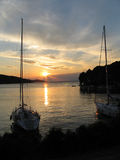 Jachthafensonnenuntergang Lizenzfreie Stockfotos