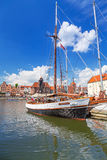 Jachthaven bij Motlawa-rivier in oude stad van Gdansk Royalty-vrije Stock Foto's