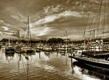 Jachthaven bij Zonsondergang Stock Fotografie