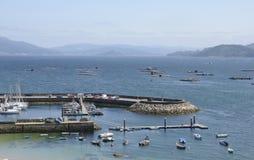 Jachthaven in de baai van Bueu Stock Foto