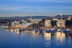 Jachthaven in Oslo, Noorwegen stock afbeelding