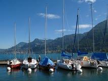 Jachthaven in Villeneuve, Zwitserland Stock Foto's